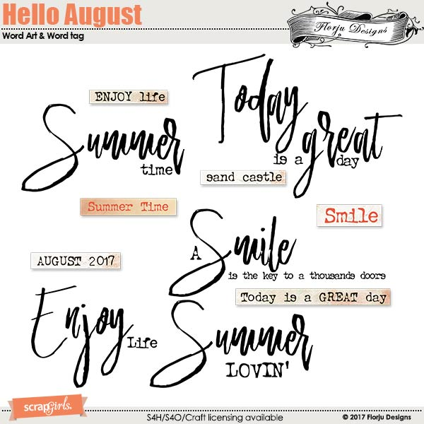 Hello August Word Art & Word tag by florju designs