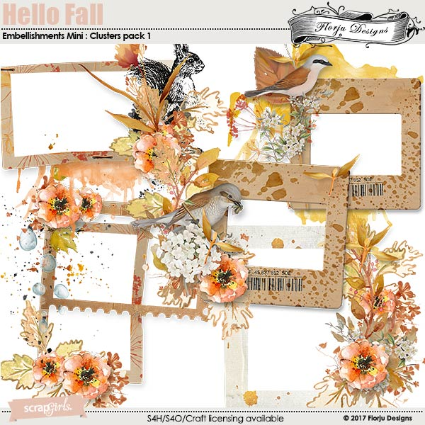 Hello Fall Embellishment Mini: Cluster Pack 1 by florju designs