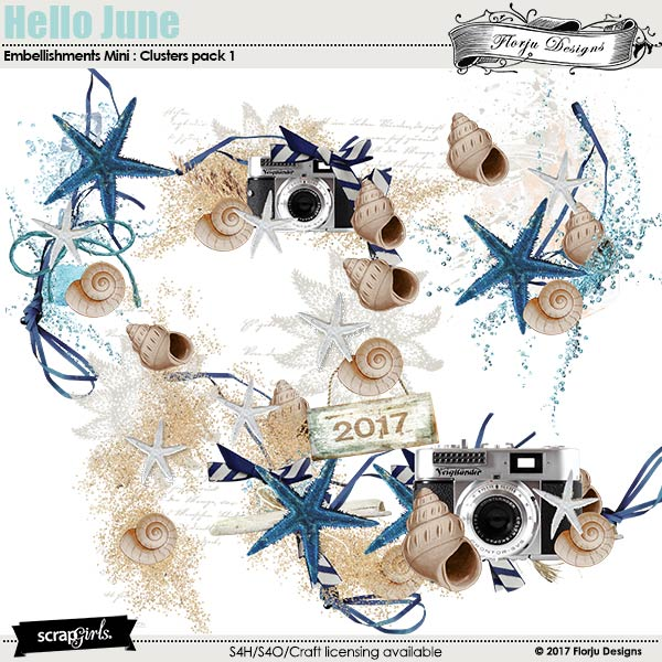 Hello June Embellishment Mini: Cluster Pack 1 by florju designs