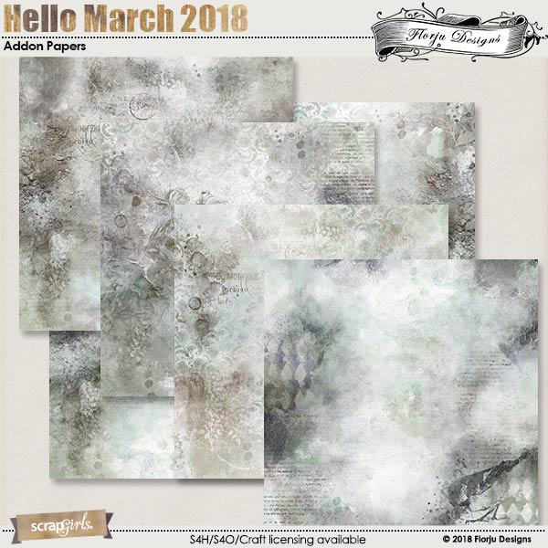 Hello March 2018 : Addon Papers by florju designs