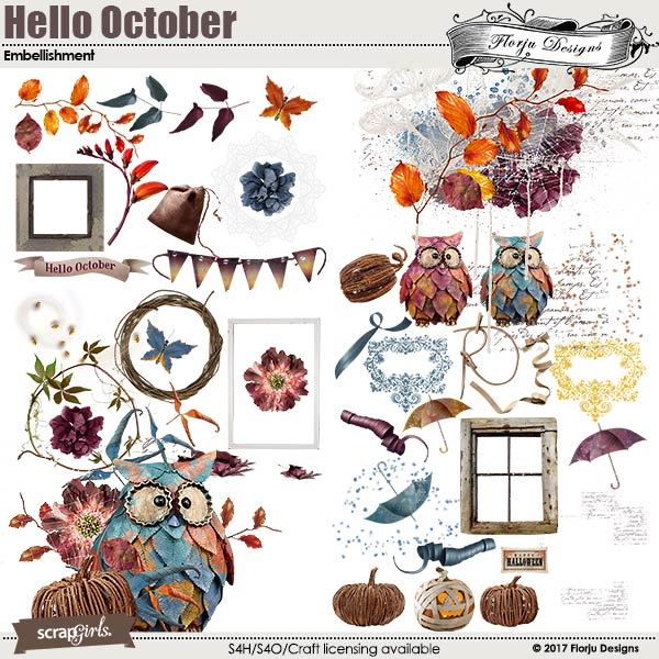 Hello October Embellishment by florju designs