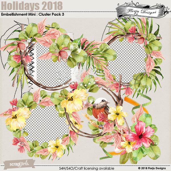 Holidays 2018 Embellishment Mini : Clusters Pack 3 by florju designs