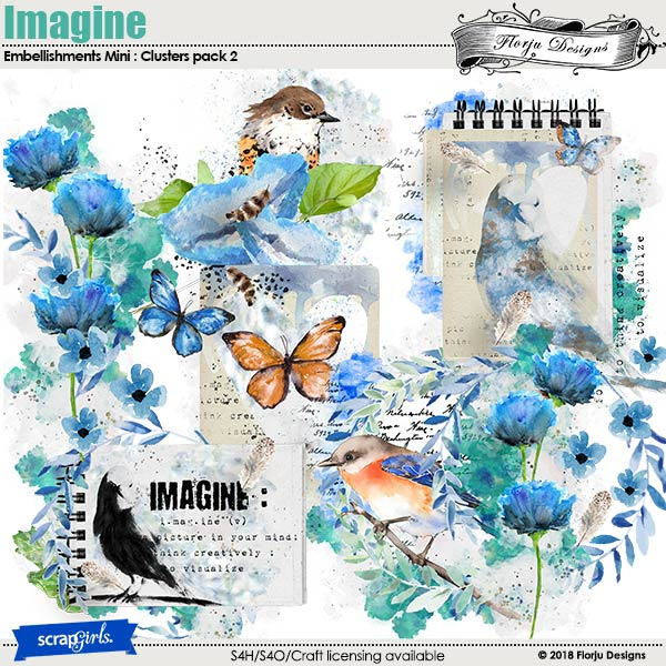 Imagine Embellishment Mini : Cluster Pack 2 by Florju Designs