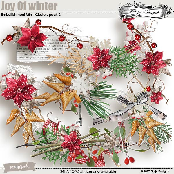 Joy Of Winter Embellishment Mini: Cluster Pack 2 by florju designs