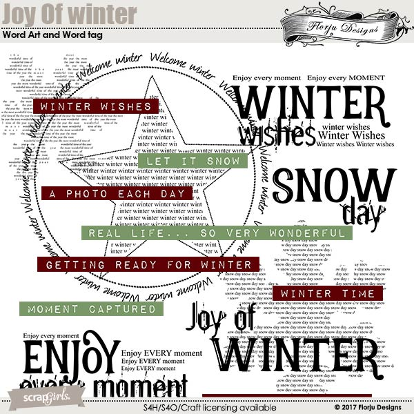 Joy Of Winter Word Art and Word Tag by florju designs