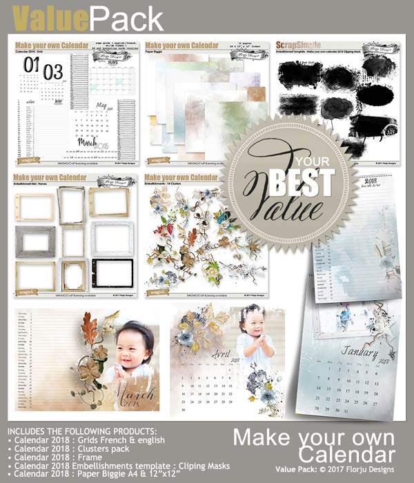 Value Pack: Make your own calendar 2018 by Florju designs