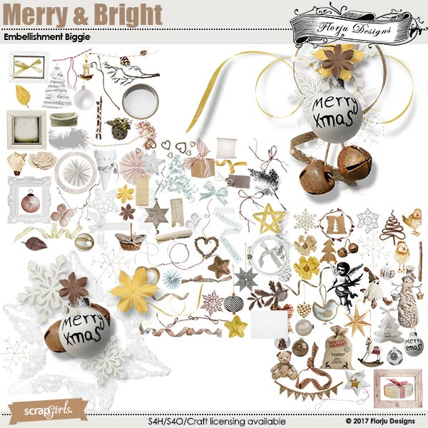 Merry and Bright Embellishment Biggie by florju designs