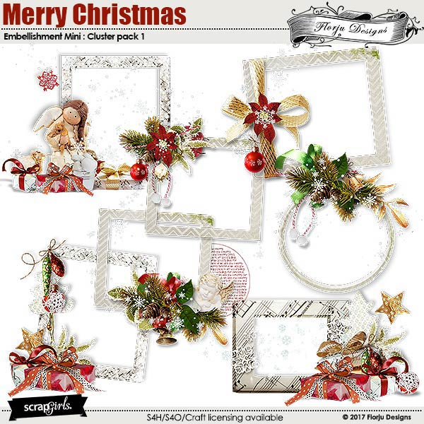Merry Christmas Embellishment Mini : Cluster Pack 1 by florju designs