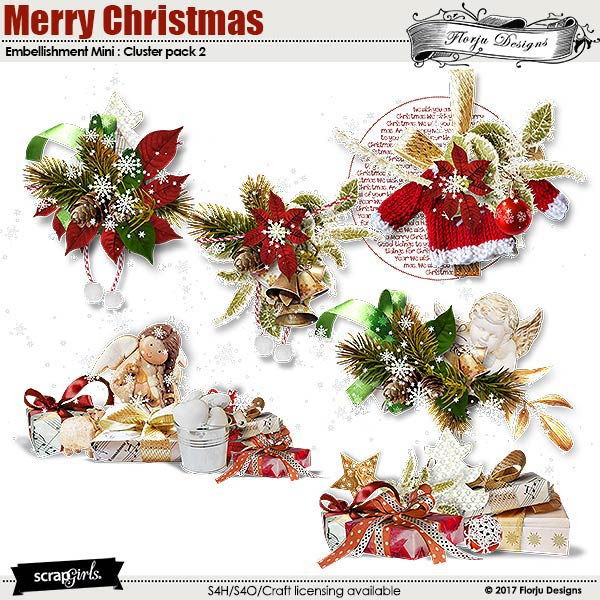 Merry Christmas Embellishment Mini : Cluster Pack 2 by florju designs