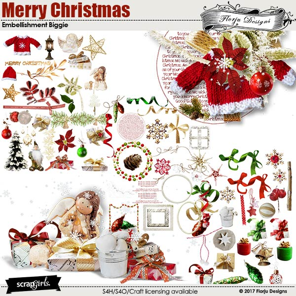Merry Christmas Embellishments Biggie by florju designs