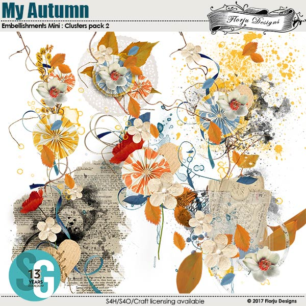 My Autumn Embellishment Mini: Cluster 2 by florju designs