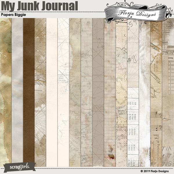 My Junk Journal Papers Biggie by Florju Designs
