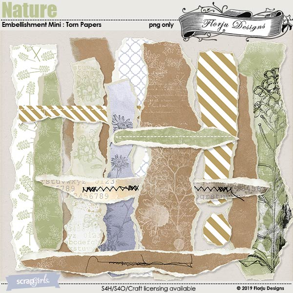 Nature Embellishments Mini : Torn Papers by Florju Designs