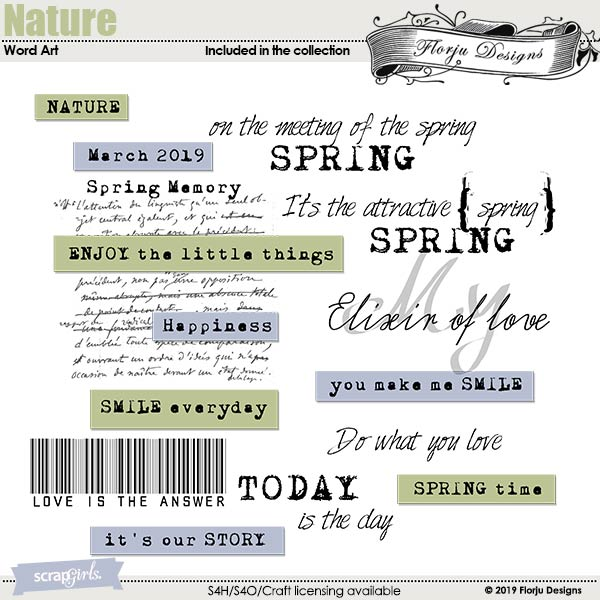Nature English Word Art by Florju Designs