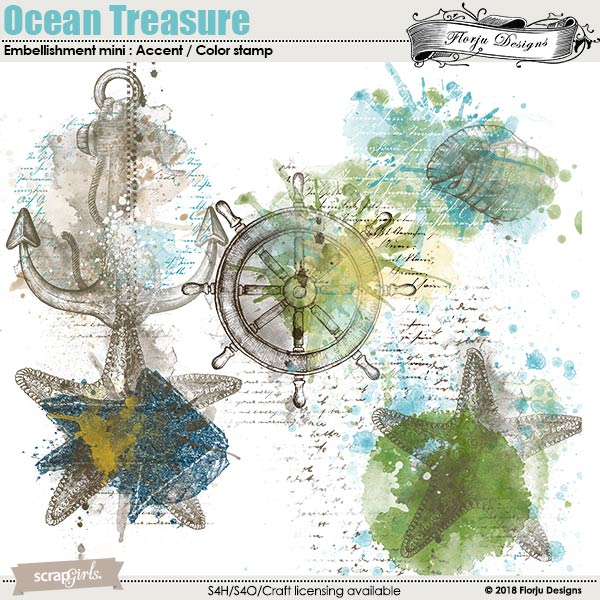 Ocean Treasure Accent , Color Stamp by florju designs
