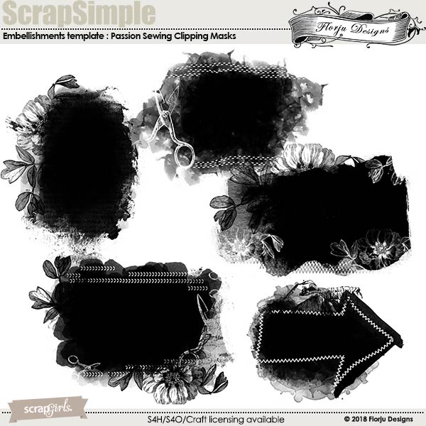 ScrapSimple Embellishment template: Passion Sewing Clipping Mask by Florju Designs