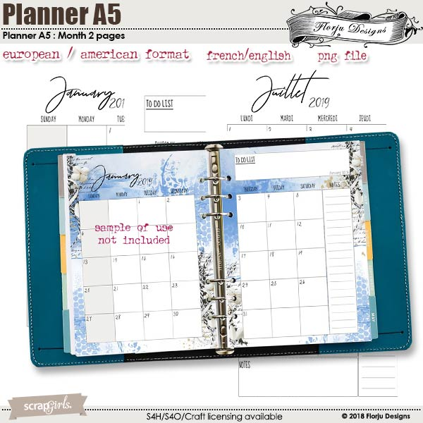 Planner Addict : Month 2 Pages A5 by Florju Designs