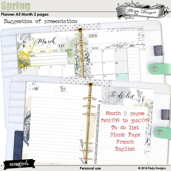Spring: Planner Month 2 pages A5 by Florju Designs