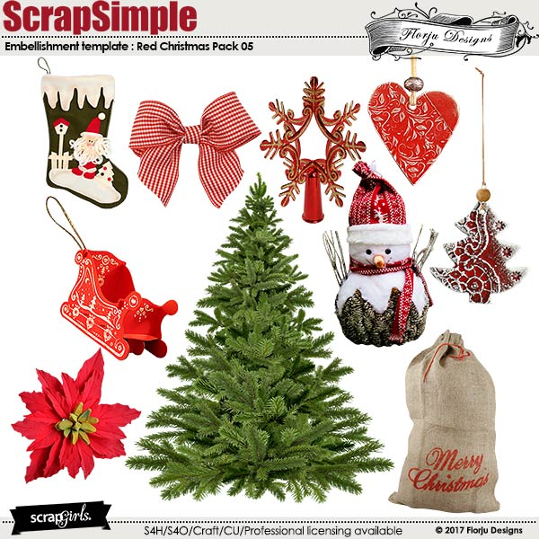 ScrapSimple Embellishment Templates: Red Christmas Pack 05 by florju designs