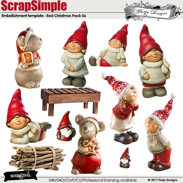 ScrapSimple Embellishment Templates: Red Christmas Pack 06 by florju designs