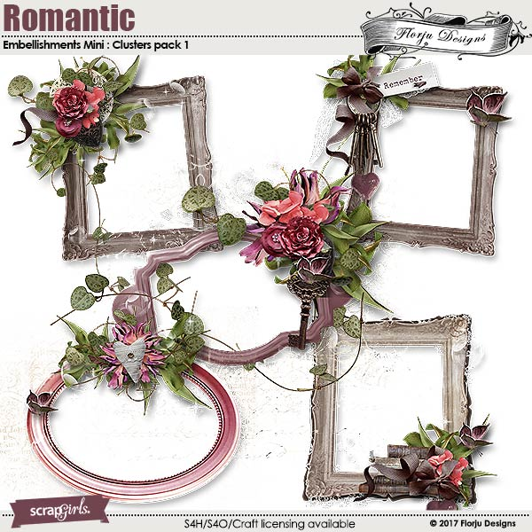 Romantic Embellishment Mini: Cluster pack 1 by florju designs