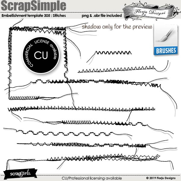 ScrapSimple Embellishment Templates: 305 Stitches