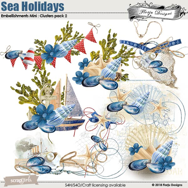 Sea Holidays Embellishment Mini: Cluster Pack 2 by florju designs