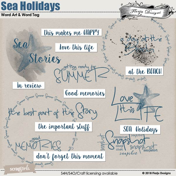 Sea Holidays Word art and Word tag by florju designs
