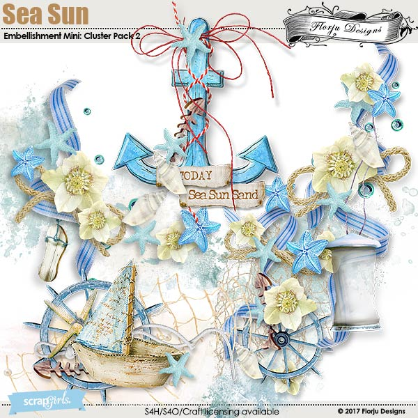 Sea Sun Embellishment Mini: Cluster Pack 2 by florju designs