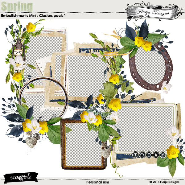Spring Embellishment Mini: Cluster Pack 1 by florju designs