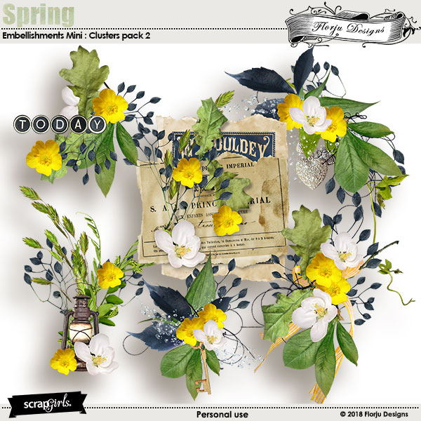 Spring Embellishment Mini: Cluster Pack 2 by florju designs