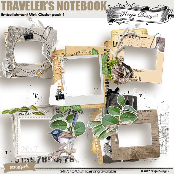 Traveler's Notebook Embellishment Cluster Pack 1 by Florju designs