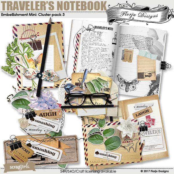 Traveler's Notebook Embellishment Cluster Pack 3 by Florju designs
