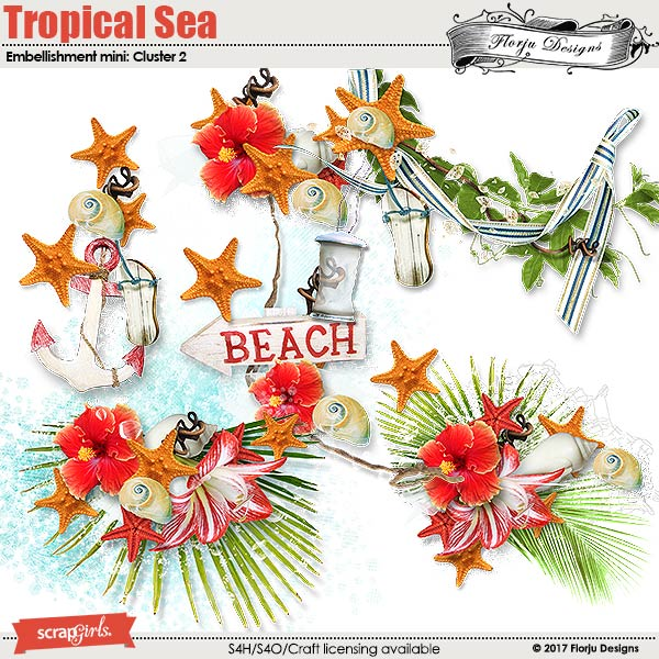 Tropical sea Embellishment Mini: Cluster Pack 2 by florju designs