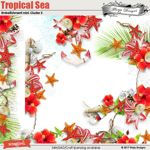 Tropical sea Embellishment Mini: Cluster Pack 3 by florju designs