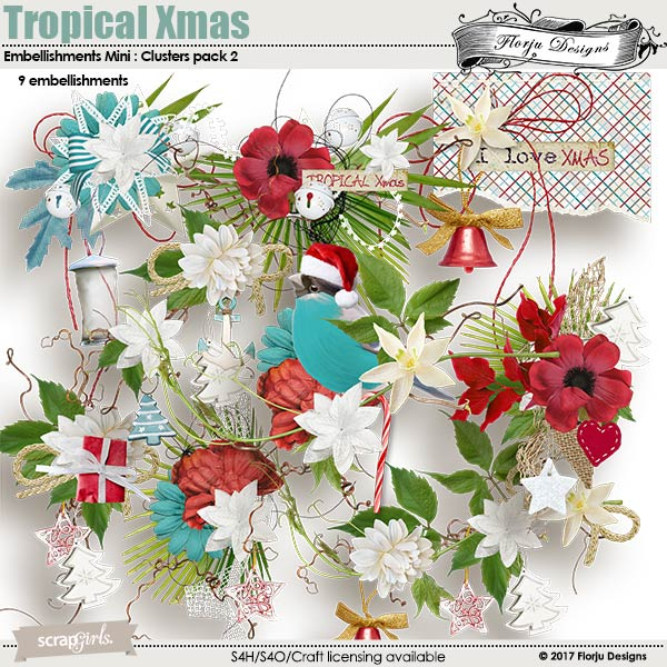 Tropical Xmas Embellishment Mini : Cluster Pack 2 by florju designs
