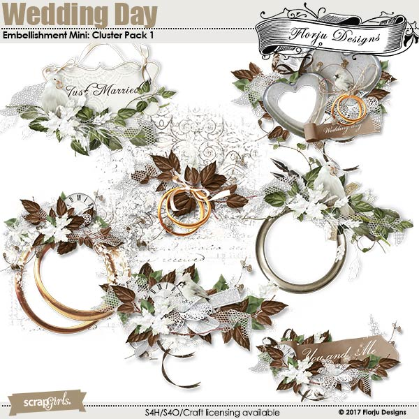 Wedding Day Embellishment Mini: Cluster Pack 1 by florju designs