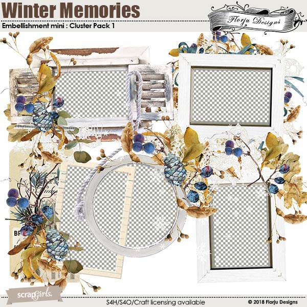 Winter Memory Embellishment Mini : Cluster Pack 1 by florju designs