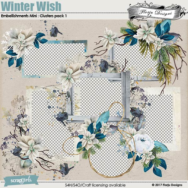 Winter Wish Embellishment Mini: Cluster Pack 1 by florju designs