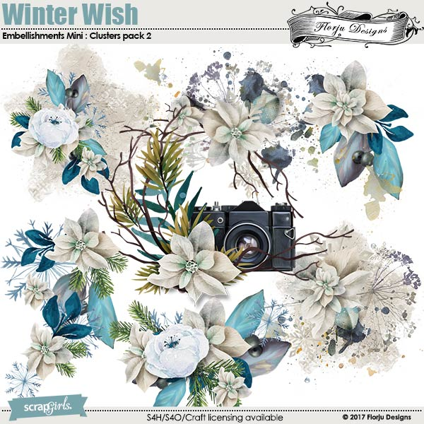 Winter Wish Embellishment Mini: Cluster Pack 2 by florju designs
