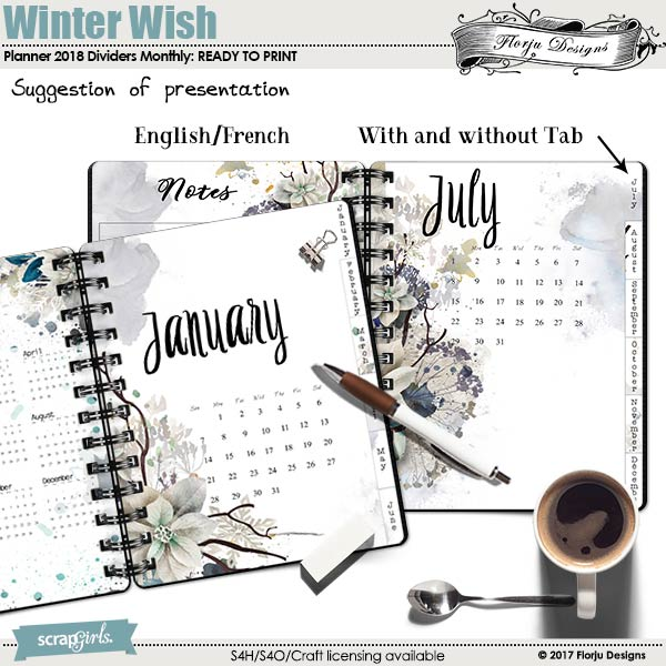 Planner A5 Winter Wish : Dividers calendar by florju designs