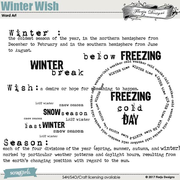 Winter Wish Word Art by florju designs
