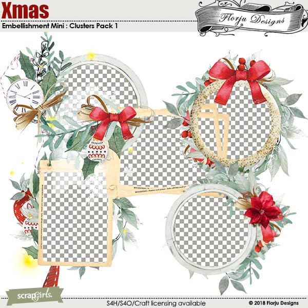 Xmas Embellishment Mini : Clusters Pack 1 by Florju Designs