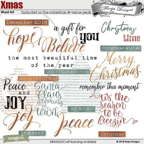 Xmas Word art and word tag by Florju Designs
