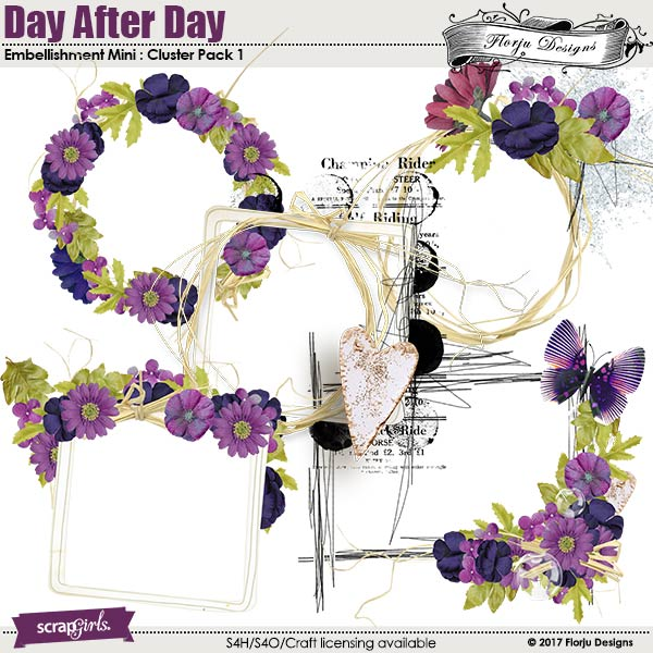 Day After Day Embellishment Mini : Clusters pack 1 by Florju designs