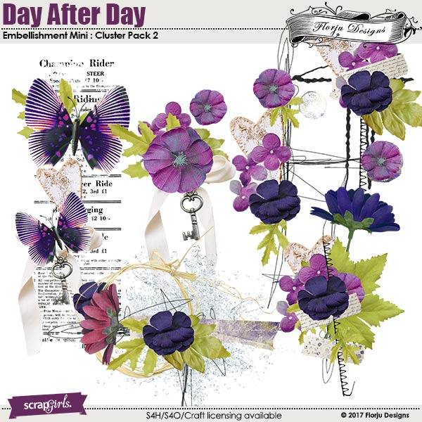 Day After Day Embellishment Mini : Clusters pack 2 by Florju designs