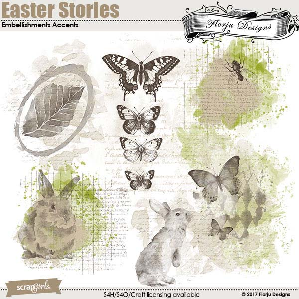 Easter Stories Embellishment Accent by Florju Designss
