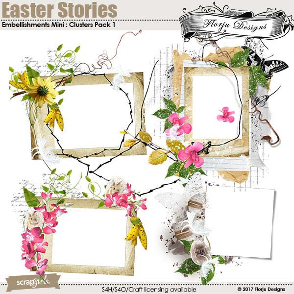 Easter Stories Embellishment Clusters Pack 1 by Florju Designs