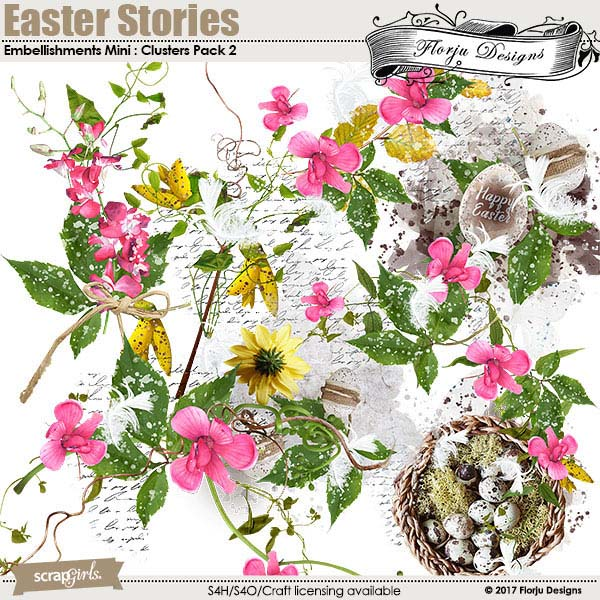 Easter Stories Embellishment Clusters Pack 2 by Florju Designs
