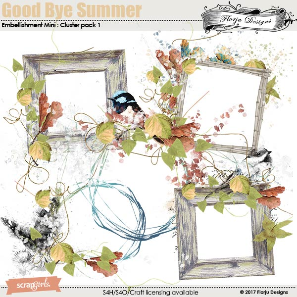 GoodBye Summer Embellishment Mini: Cluster Pack 1 by florju designs